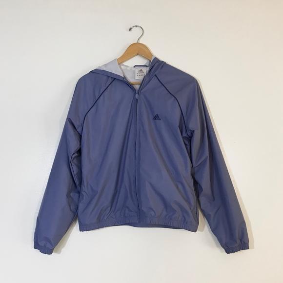 adidas Jackets & Blazers - Adidas   Lilac Zip Up Windbreaker Rain Jacket   M